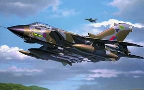Обои истребитель-бомбардировщик, рисунок, арт, Panavia Tornado