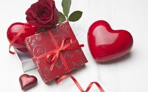 Картинка фото, Цветы, Сердце, Розы, Праздник, Разное, Подарки, Бордовый