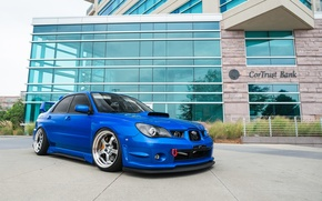 Картинка turbo, wheels, subaru, japan, blue, wrx, impreza, jdm, tuning, power, front, sti, face, low, volk, …