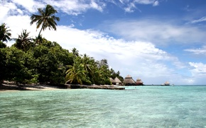 Картинка пляж, небо, океан, остров, мальдивы