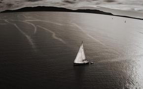 Картинка море, вода, горы, природа, океан, лодка, парус