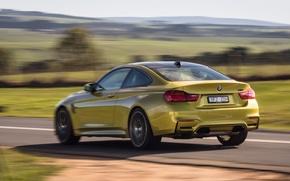 Картинка car, машина, скорость, BMW, вид сзади, Coupe, speed, Competition Package, M4