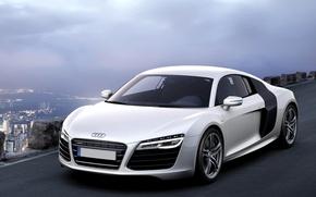 Обои car, wallpapers, white, sportcar, audi r8, v10, автомобиль