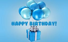 Картинка воздушные шары, день рождения, Happy Birthday, blue, balloons, Design by Marika