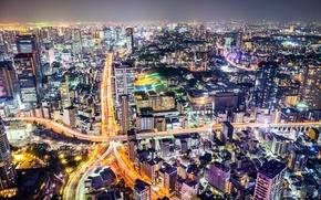 Картинка ночь, огни, яркие, дороги, дома, Япония, Токио, панорама, Tokyo, мегаполис, улицы