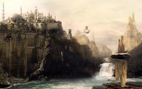 Картинка река, замок, водопад