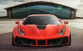 Картинка Ferrari, Red, GTB, Design, Front, Supercar, 2015, 488