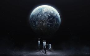 Картинка космос, планета, арт, desktopography, man on the moon