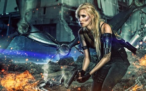 Картинка Apocalypse, rocks, red, sparks, terminator, white, woman, black, gun, chains, yellow, machine, blonde, android, future, ...