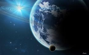 Картинка космос, звезды, планеты, кольца