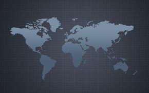 Картинка серый, фон, карта, материки, континенты, map
