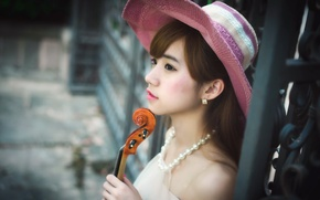 Обои азиатка, музыка, скрипка, девушка