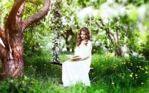Картинка трава, девушка, цветы, природа, дерево, весна