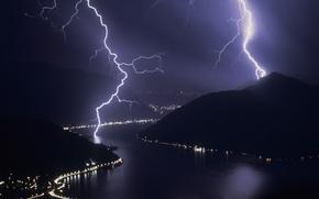 Картинка ночь, молнии, Гроза