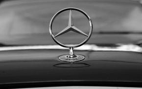Картинка Mercedes, Чёрно-белое, Значек