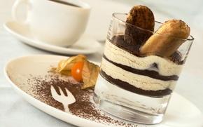 Обои десерт, dessert, сладкое, tiramisu, кофе, italian, chocolate, тирамису, печенье, delicious, sweet, крем, какао, glass