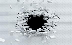 Картинка explosion, wall, white, brick