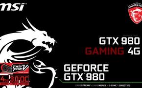 Картинка GTX, Gaming, Geforce, MSI, 980