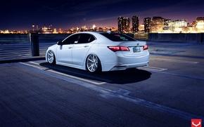 Картинка Car, White, Tuning, Acura, Vossen, Wheels, Rear, TLX, Nigth