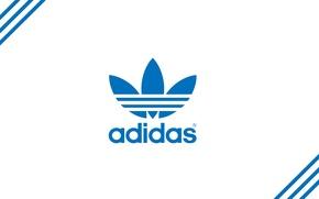 Картинка лого, голубой, logo, полосы, адидас, adidas, фирма