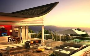 Картинка дизайн, дом, стиль, вилла, интерьер, пентхаус, терраса, жилое пространство