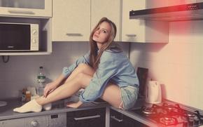 Картинка Девушка, Girl, Кухня, Beautiful, Bed, Красивая, Kitchen, Mike, Оля, Olya