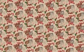 Обои веточка ели, Новый год, текстура, чулок, рождество, котёнок, деская, фон, подарок, праздник, щенок