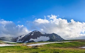 Картинка beautiful higlands, Scenery, горы, природа, голубое, облака, небо, пейзаж