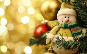 Картинка украшения, улыбка, елка, рождество, шарф, Новый год, снеговик, christmas, new year, smile, New Year, Merry …