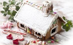 Обои сладости, праздник, пряничный дом, новогодние обои, christmas decoration, happy new year, новый год, christmas color, ...