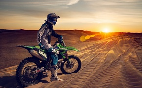 Картинка sunset, motorcycle, sand, dunes
