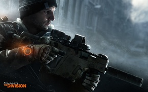 Картинка снег, оружие, шапка, часы, солдат, перчатки, агент, боец, Ubisoft, KRISS Vector, Tom Clancys The Division
