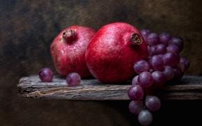 Картинка виноград, натюрморт, гранаты, Grapes and Pomegranates