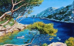 Картинка море, свет, деревья, пейзаж, горы, ветки, картина, лодки, яхта, арт, лагуна, берега, Jean-Marc Janiaczyk