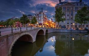 Картинка деревья, мост, отражение, здания, Амстердам, канал, Нидерланды, набережная, Amsterdam, Netherlands