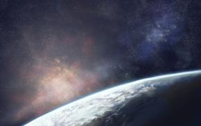 Картинка небо, космос, звезды, земля, планета, арт, moruga