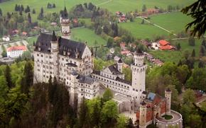 Обои пейзаж, замок, бавария, нойшванштайн