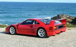 Обои ferrari, f40, феррари, автомобиль, море