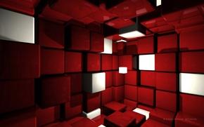 Картинка Красный, Кубики, Cubes, Cube Room