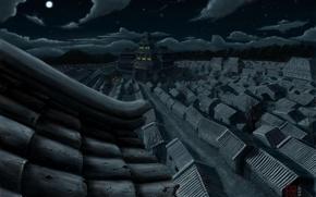 Картинка ночь, крыши, япония