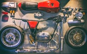 Обои мотоцикл, разобранный, Royal Enfield