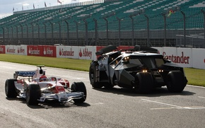 Обои at Silverstone, Toyota, the, Batmobile, from, car, with, The Dark Knight movie