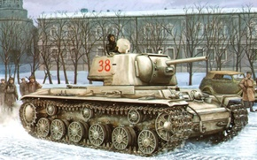 Картинка war, art, painting, tank, ww2, KV-1