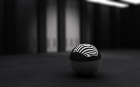 Обои мячь, чёрный, полосы, белые