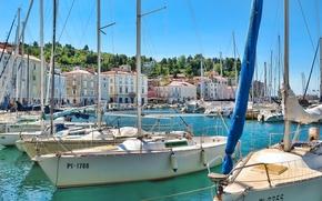 Картинка здания, дома, лодки, Пиран, Словения, Slovenia, Адриатическое море, Piran, Пиранский залив, Adriatic sea, Pirano, Пирано