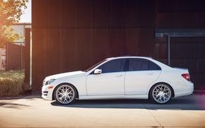 Картинка белый, профиль, Mercedes, white, мерседес, benz, c250, c-class
