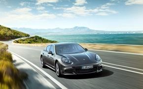 Картинка море, берег, Porsche, Panamera, 2012, порше, панамера