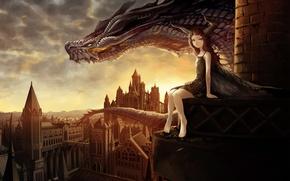 Картинка город, дракон, девочка, art