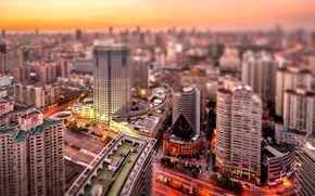 Картинка закат, улица, здания, крыши, Китай, Шанхай, оранжевое небо