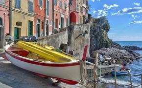 Обои море, лодка, Италия, Риомаджоре, дома, Чинкве-Терре, бухта